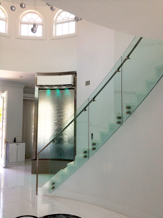 Curved Glass Water Walls And Stair Railing In A Private Residence, Arcadia,  CA